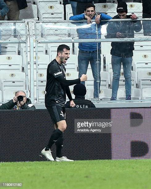 Oguzhan Ozyakup of Besiktas celebrates after scoring a goal during the Turkish Super Lig soccer match between Besiktas and Genclerbirligi in...