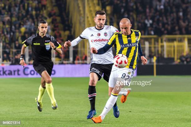 Oguzhan Ozyakup of Besiktas JK Aatif Chahechouhe of Fenerbahce SK during the Ziraat Turkish Cup match Fenerbahce AS and Besiktas AS at the Sukru...