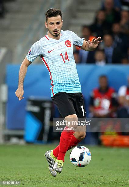 Oguzhan Ozyakup of Turkey in action during the UEFA EURO 2016 Group D match between Spain and Turkey at Allianz Riviera Stadium on June 17 2016 in...