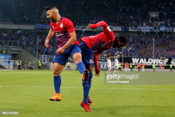 Oguzhan Takyi and Johannes Doerfler of Uerdingen celebrate the fir4st goal during the Third League Playoff first leg match between KFC Uerdingen and...