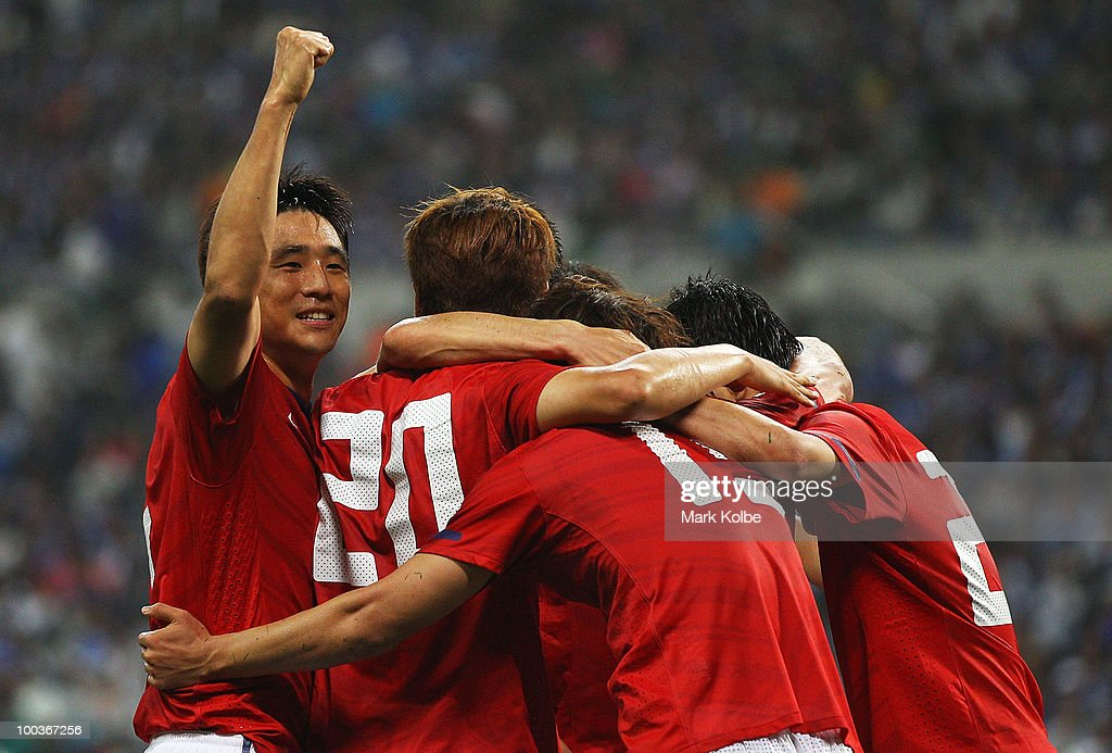 Oh Beom Seok of South Korea celebrates with his team after Park Chu Young of South Korea after scored a goal during the international friendly match between Japan and South Korea at Saitama Stadium on May 24, 2010 in Saitama, Japan.