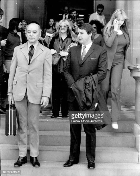 Oh Calcutta Co producers of the play Oh Calcutta Bob Huber and Lionel Sandy leaving Central Court after being fined followed by members of the cast...