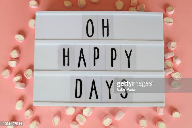 """""""oh happy days"""" message in light box - lightbox stock pictures, royalty-free photos & images"""