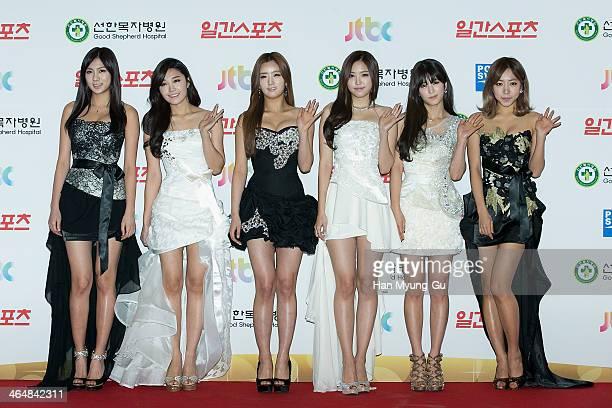 Oh HaYoung Jeong EunJi Yoon BoMi Son NaEun Park ChoRong and Kim NamJoo of South Korean girl group A Pink attend the 28th Golden Disk Awards at...