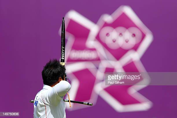 Oh Jin Hyek of Korea competes against Viktor Ruban of Ukraine during the Men's Individual Archery Quarterfinal match on Day 7 of the London 2012...