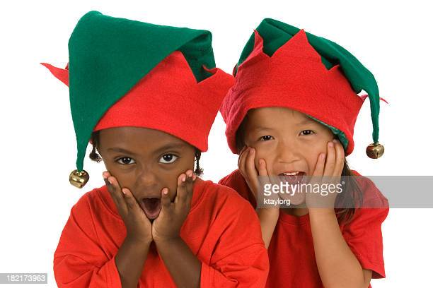 oh my goodness elves! - green hat stock pictures, royalty-free photos & images