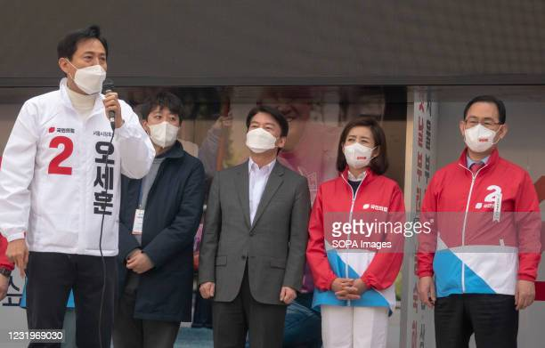 Oh Se-Hoon , South Korean main opposition People Power Party 's candidate for the April 7 Seoul mayoral by-election, speaks during his campaign rally...