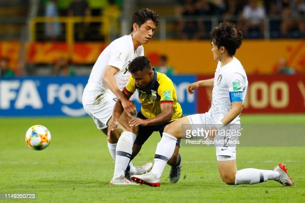 Oh Sehun and Hwang Taehyeon of Korea Republic competes for the ball with Diego Palacios of Ecuador during the FIFA U20 World Cup Semi Final match...