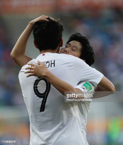 Oh Sehun of Korea Republic celebrates scoring a goal during the FIFA U20 World Cup match between Japan and Korea Republic on June 4 2019 in Lublin...
