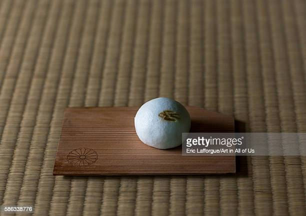 Ohagi rice dumplings coated with sweet bean paste during a tea ceremony in daitokuji kansai region kyoto Japan on May 25 2016 in Kyoto Japan