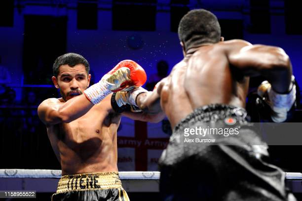 Ohara Davies punches Miguel Vazquez during the SuperLightweight fight between Ohara Davies and Miguel Vazquez at York Hall on June 28 2019 in London...