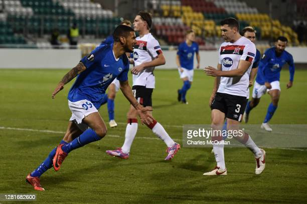 Ohi Omoijuanfo of Molde FK celebrates after scoring his sides second goal from the penalty spot during the UEFA Europa League Group B stage match...