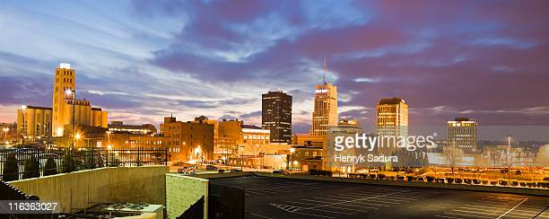 usa, ohio, akron, cityscape at dusk - ohio stock photos and pictures