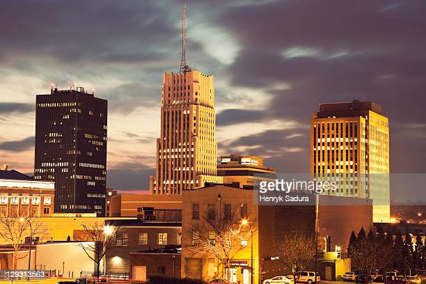 usa, ohio, akron, sunset in downtown - ohio stock pictures, royalty-free photos & images