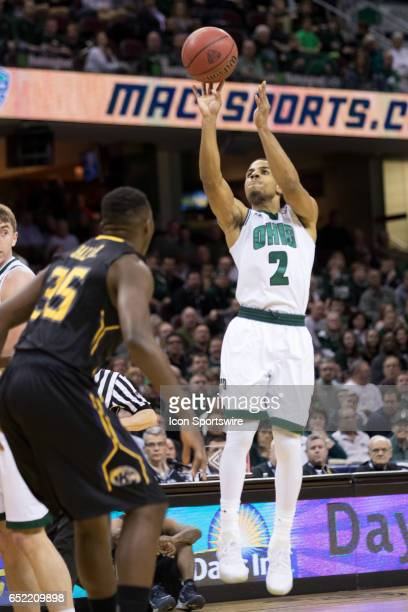 Ohio Bobcats G Jaaron Simmons shoots during the first half of the MAC mens basketball tournament game between the Ohio Bobcats and Kent State Golden...