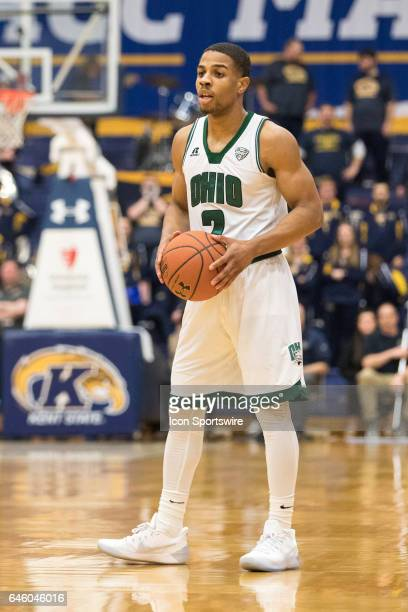 Ohio Bobcats G Jaaron Simmons with the basketball during the first half of the men's college basketball game between the Ohio Bobcats and Kent State...