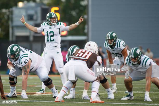 Ohio Bobcats quarterback Nathan Rourke calls out a play in the second half of a game between the Ohio Bobcats and the Bowling Green Falcons on...