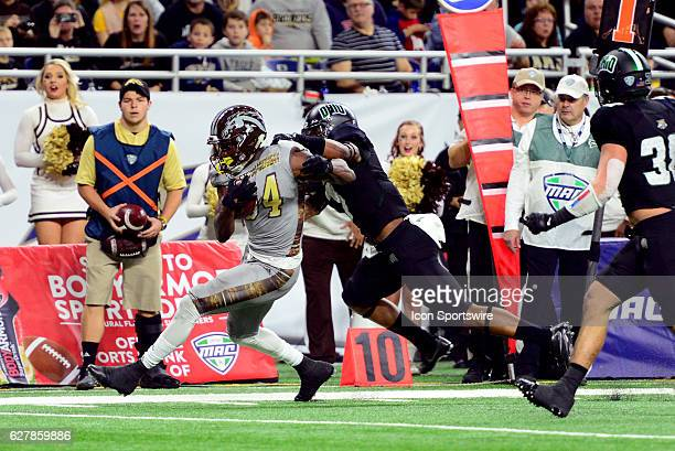 Ohio Bobcats Safety Javon Hagan pushes Western Michigan Broncos Wide Receiver Corey Davis out of bounds during the MAC Championship game on December...
