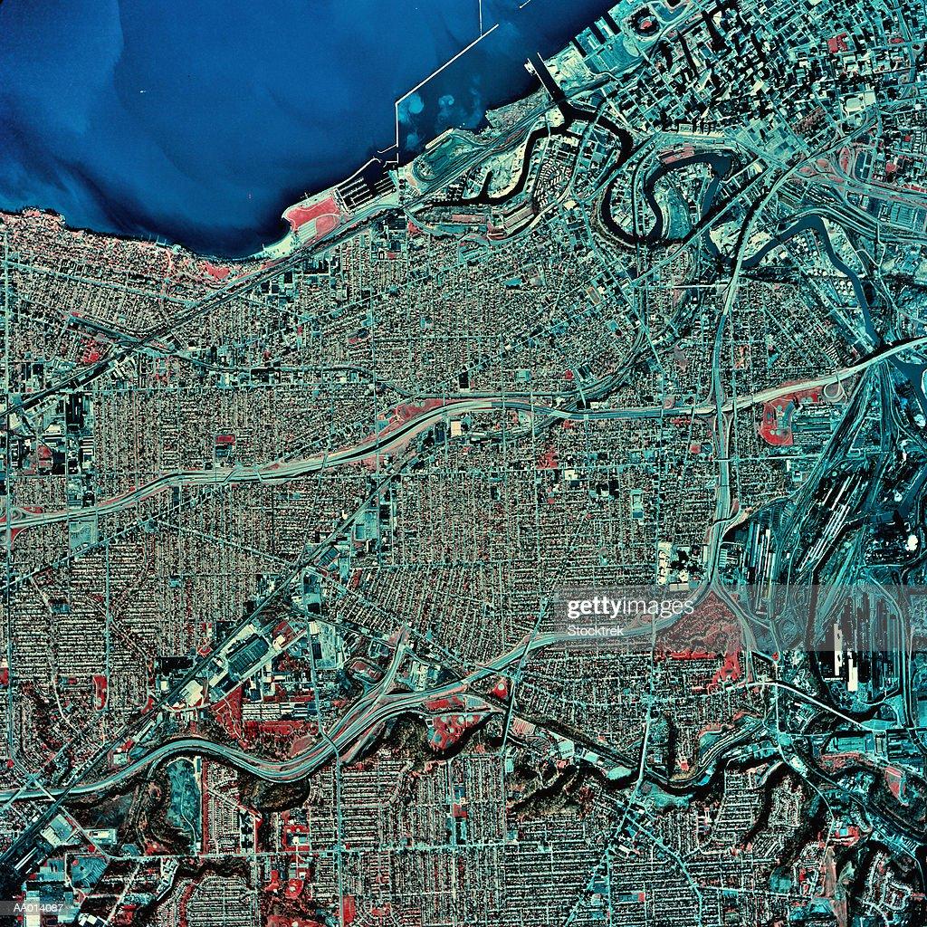 USA, Ohio, Cleveland and Lake Erie, satellite image : Stock-Foto