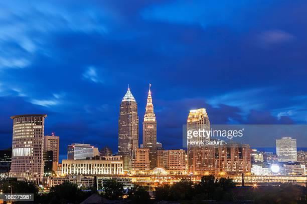 USA, Ohio, Cleveland, City skyline at dusk