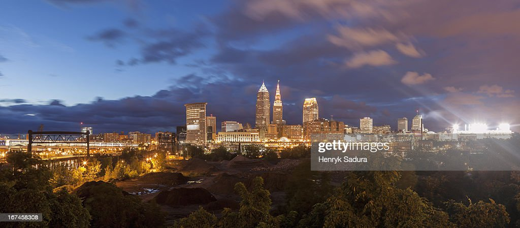 USA, Ohio, Cleveland, Cityscape at evening : Stock Photo