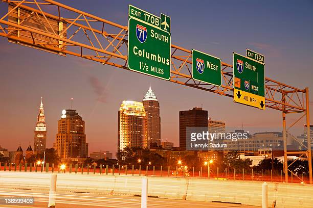 USA, Ohio, Cleveland, View from expressway at dusk