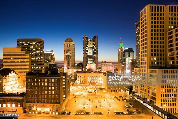 USA, Ohio, Columbus, Downtown illuminated at night