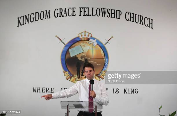 Ohio Democratic congressional candidate Danny O'Connor speaks to worshipers during a campaign stop at Kingdom Grace Fellowship Church on August 5,...
