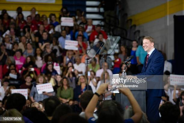 Ohio Democratic Gubernatorial candidate Richard Cordray speaks to his supporters during a campaign rally at CMSD East Professional Center Gymnasium...