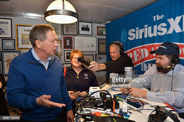 Ohio Governor and Presidential Candidate John Kasich and host Ari RabiHavt at SiriusXM Red Diner Broadcasts from New Hampshire Primary Coverage Live...