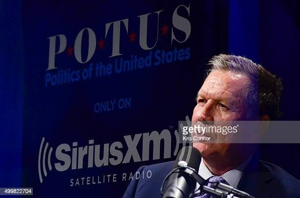 Multiple exposures created in camera Ohio Governor and republican presidential candidate John Kasich speaks with host Tim Farley during SiriusXM...