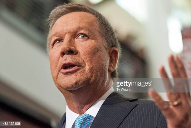 Ohio Governor John Kasich gives his speech announcing his 2016 Presidential candidacy at the Ohio Student Union at The Ohio State University on July...