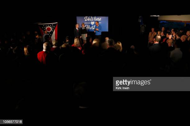 Ohio Governor John Kasich speaks to a group of Republican Gubernatorial Candidate Ohio Attorney General Mike DeWine supporters at a campaign event at...