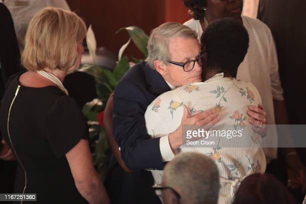 Ohio Governor Mike DeWine attends the funeral of Derrick Fudge at St John Missionary Baptist Church on August 10 2019 in Springfield Ohio Fudge was...