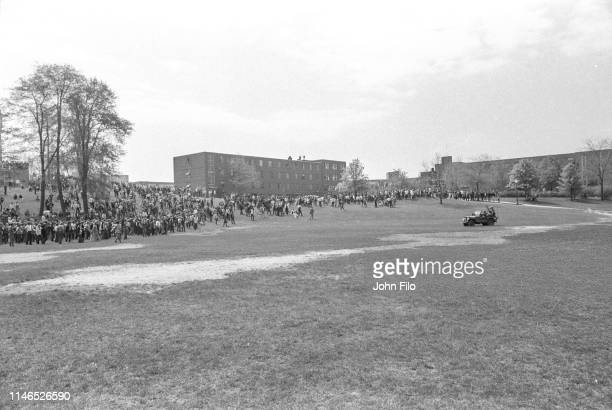 Ohio National Guardsman drive a jeep on the Kent State University Commons during an student antiwar demonstration Kent Ohio May 4 1970 The protests...