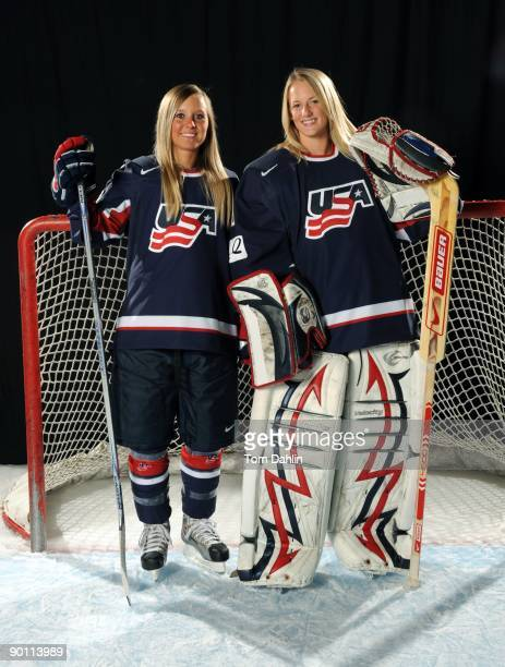 Ohio natives Kelli Stack and Brianne McLaughlin of the US Women's National Hockey Team pose for a portrait on August 25 2009 at the National Sports...