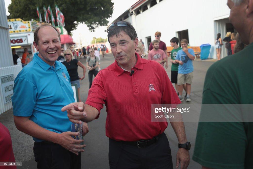 GOP Senate Candidate Troy Balderson Campaigns At Local Ohio Fair : News Photo
