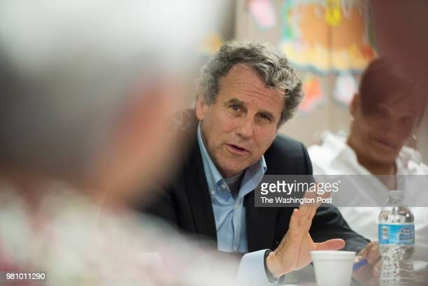 Ohio Senator Sherrod Brown speaks during a roundtable discussion on opiod abuse at the Muskingum Behavioral Health treatment facility in Zanesville...