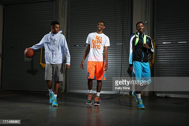Ohio State basketball commits DeAngelo Russell Keita BatesDiop and Jae' Sean Tate pose during a portrait session at the NBPA Top 100 Camp on June 15...