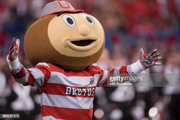 Ohio State Buckeye mascot Brutus performs on the field before the Big 10 Championship game between the Wisconsin Badgers and Ohio State Buckeyes on...