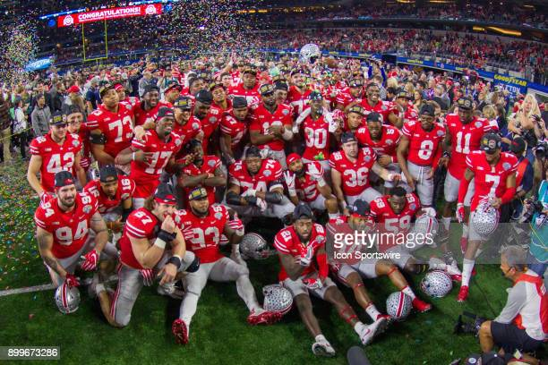 Ohio State Buckeyes after the Goodyear Cotton Bowl Classic football game between the USC Trojans and the Ohio State Buckeyes on December 29 2017 at...