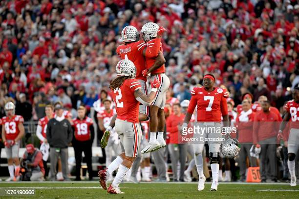 Ohio State Buckeyes celebrate a touchdown during the second half in the Rose Bowl Game presented by Northwestern Mutual at the Rose Bowl on January 1...