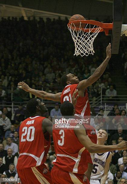 Ohio State Buckeye's Center Greg Oden leaps fora rebound during their game against the Northwestern Wildcats January 24 2007 at WelshRyan Arena in...