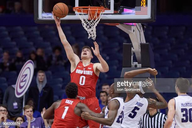 Ohio State Buckeyes center Micah Potter goes up for a layup during the BIG Ten college basketball game between the Northwestern Wildcats and the Ohio...