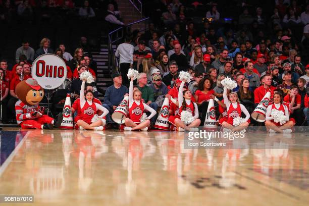 Ohio State Buckeyes cheerleaders during the first half of the Big Ten Super Saturday College Basketball Game between the Minnesota Golden Gophers and...