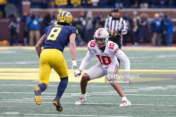 Ohio State Buckeyes corner back Amir Riep plays defense on Michigan Wolverines wide receiver Ronnie Bell during a regular season Big 10 Conference...