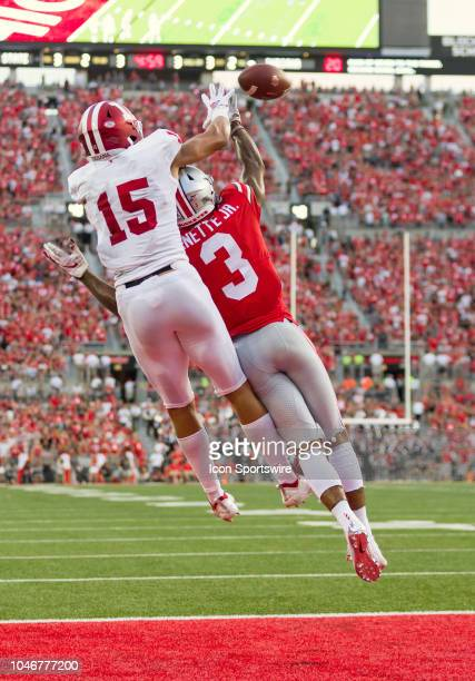 Ohio State Buckeyes cornerback Damon Arnette breaks up a pass intended for Indiana Hoosiers wide receiver Nick Westbrook in a game between the Ohio...