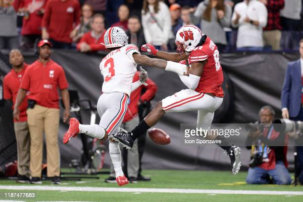 Ohio State Buckeyes cornerback Damon Arnette knocks the ball away from Wisconsin Badgers wide receiver Quintez Cephus during the Big Ten Conference...