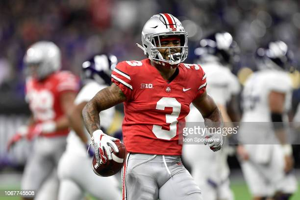 Ohio State Buckeyes cornerback Damon Arnette reacts after getting an interception against the Northwestern Wildcats during the Big Ten championship...