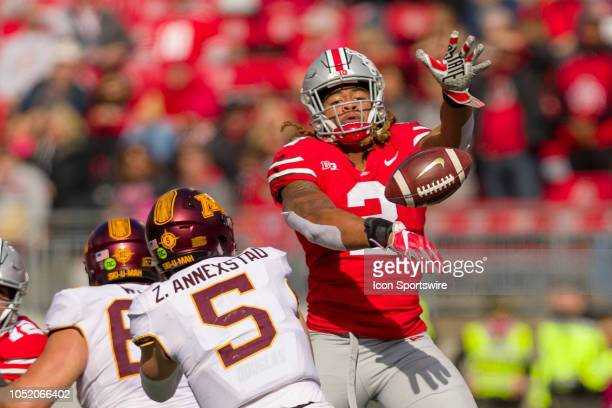Ohio State Buckeyes defensive end Chase Young knocks a pass down from Minnesota Golden Gophers quarterback Zack Annexstad in a game between the Ohio...